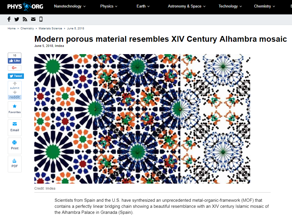 Modern porous material made in Madrid resembles XIV Century Alhambra mosaic