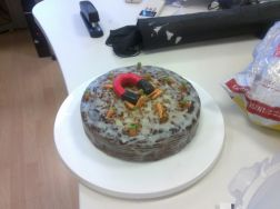 June 2012: Bright field image of the magnetic carrot cake synthesized for Teran's Birthday celebration